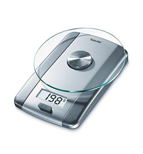 Beurer KS 38 Glas-Küchenwaage, Tara-Zuwiegefunktion, bis 5 kg Tragkraft, 1 g Einteilung