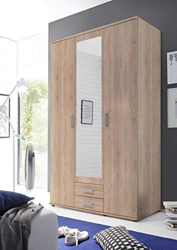 lifestyle4living Kleiderschrank mit Spiegel, Eiche-Sonoma Dekor, 120 cm | Drehtürenschrank 3 türig mit 2 Schubladen im klassischen Stil