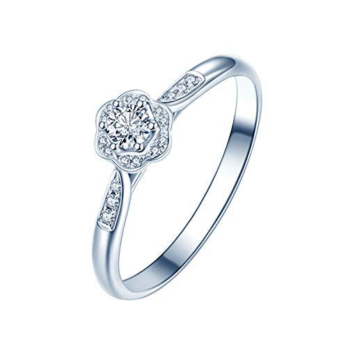 Daesar Anillo Oro Blanco Mujer 18K,Anillos Compromiso Plata Mujer Flor Redondo 0.1ct Diamante Blanco 0.07ct Anillo Talla 26