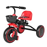 3 in1Kid's Foldable Tricycle,Kids Trike with Adjustable Seat and Storage Basket,Carbon Steel Frame Toddle Boys Girls Tricycle 27.5x17.7x19.6inches , Suitable for 2-5 Age (RED)