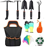 Yafei Garden Tools Set,10 Piece Cast- Duty Gardening Kit Includes Hand Trowel, Transplant Trowel and Cultivator Hand Rake with Soft Rubberized Non-Slip Ergonomic Handle,Garden Tools Set