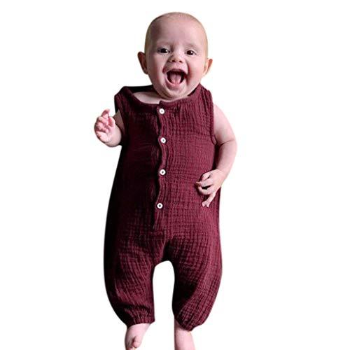 Xmiral Infant Baby Jungen Mädchen Weste Strampler Unisex Einfarbig Ärmellose Knöpfe Overall Plissee Baumwollmischung Bodys Playsuit(b Wein,18-24 Monate)