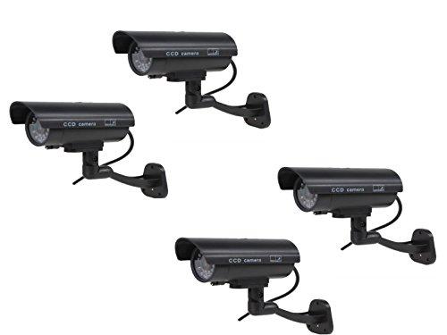 Kabalo 4 x Réaliste Caméra Factice sans Fil, Faux réaliste caméra Factice de sécurité CCTV LED Rouge Clignotante intérieure extérieure Noir