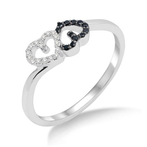 Miore Damen-Ring 750 Weißgold mit Herzen Brillanten Weiß und Schwarz Gr. 56 MF8014RP