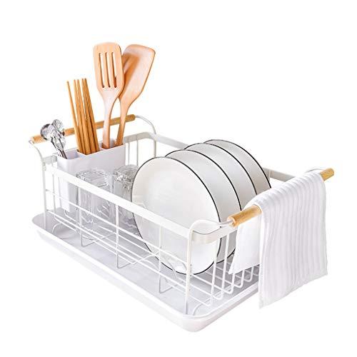Yxsd Estante de secado de platos con bandeja para secar platos, acero inoxidable, alambre de metal de acero inoxidable, escurridor medio, estante de cocina/estantes de cocina y estantes