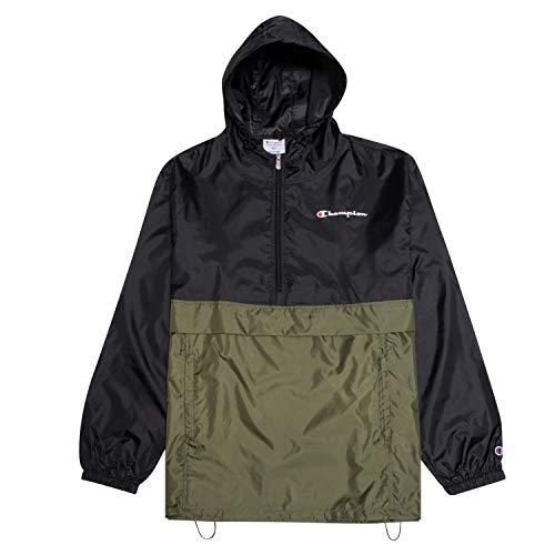 Champion Jacket Mens Big and Tall Hoodie Anorak Windbreaker Men Rain Jacket BLK/Olive 2X