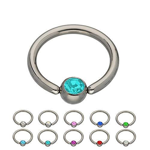 Treuheld® | Silbernes Titan KLEMMKUGELRING Piercing mit Kristall - [37.] 1.2 x 10 mm (Kugel: 4mm) - Petrol