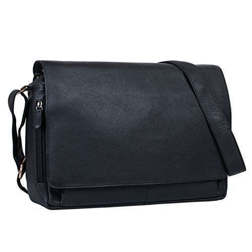 STILORD 'Tom' Vintage Leder Umhängetasche für Studium Uni Büro Arbeit 15 Zoll Laptoptasche DIN A4 Schultertasche Messenger Bag Echtleder, Farbe:schwarz