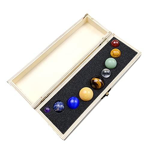 Sharplace Nueve Planetas Sistema Solar Esfera de Cristal Natural Bolas Piedras Preciosas Piedra con Caja de Almacenamiento Accesorios de enseñanza Feng Shui