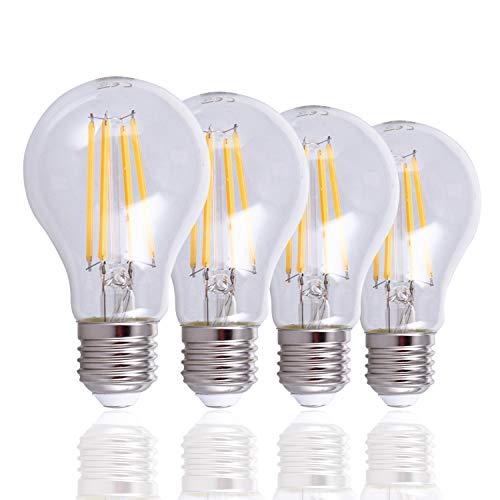 LED Glühbirne Für E27 Fassung, Vintage Leuchtmittel m. klarem Glas, Dimmbar, Farbe:Klar 4er Set