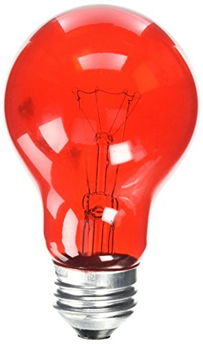 Westinghouse Lighting 0344600, 25 Watt, 120 Volt Trans Incandescent A19 Light Bulb-2500 Hours, 1 Pack, Transparent Red