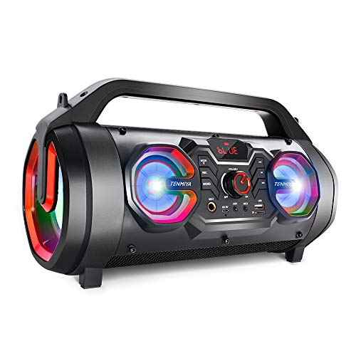 Portable Bluetooth Speakers, 30W Loud Outdoor Speakers with Subwoofer, FM Radio, RGB Colorful Lights, EQ, Stereo Sound, 10H Playtime Boombox Wireless Speaker for Home, Party, Camping, Travel