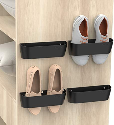 Yocice Wall Mounted Shoes Rack with Sticky Hanging Strips Plastic Shoes Holder Storage Organizer product image