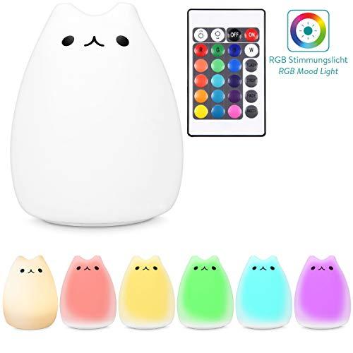 Navaris LED Nachtlicht Katze Design - Fernbedienung Micro USB Kabel - Süße RGB Farbwechsel Kinder Nachttischlampe - Kätzchen Schlummerlicht Weiß