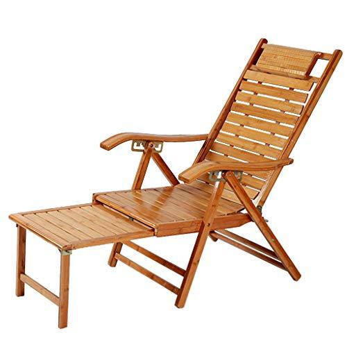 Silla reclinables Tumbona de jardín Tumbona de Gravedad Cero de bambú del Respaldo reclinable Beach Bed Adustable ergonómico Lugar Agradable Soporte Lumbar Natural xiuyun
