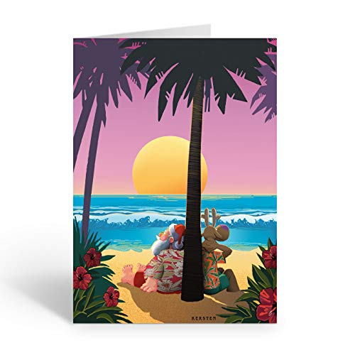 Personalized Tropical Sunset Christmas Card - 24 Custom Beach Christmas Cards and Envelopes … (Personalized)