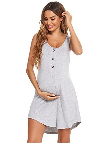 Aseniza Camisón Lactancia Hospital de Algodón Ropa de Dormir Vestido Premama Verano Camisones de Tirantes para Embarazadas(Gris,M