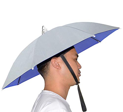 NEW-Vi Umbrella Hat Adult and Kids Folding Cap for Beach Fishing Golf Party Headwear (Silver)