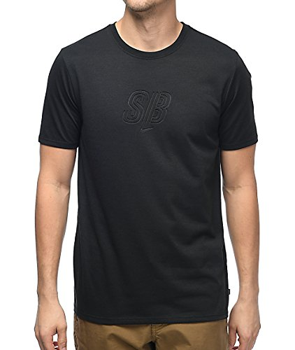 Nike Men's Dry Deboss SB Logo Short Sleeve Tee Shirt (Small, Black)