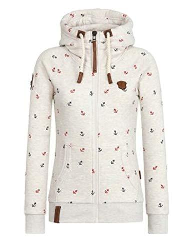 dahuo Damen Anker Print Langarm Kordelzug Kapuze Reißverschluss Sweatshirt Jacke Mantel Gr. US XX-Large, beige