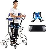 WANGXNCase Andador vertical para personas mayores con asiento y 8 ruedas, caminantes de pie para personas mayores y discapacitados de 5 pies a 6 pies, caminantes médicos (hombres y mujeres)