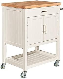 Powell Furniture Conrad White Kitchen Cart Table,