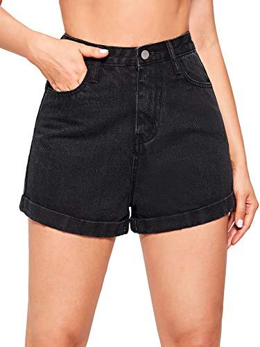 DIDK Damen Denim Shorts Jeansshorts Basic Jeans Kurze Hosen High Waist Kurze Hose Hotpants Shorts mit Taschen Schwarz S