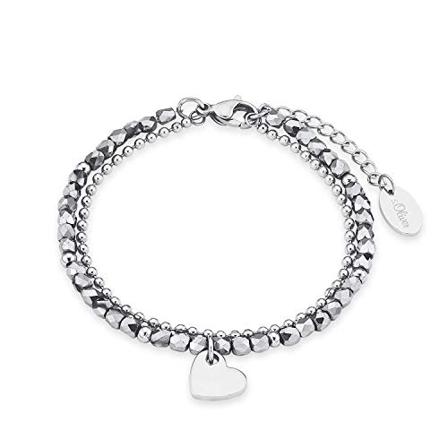 s.Oliver Gliederarmkette mit Anhänger für Damen, Edelstahl, Glas Herz
