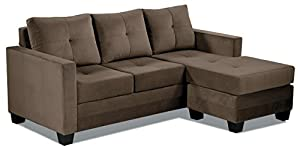 "Made of wood and upholstered in chocolate microfiber Reversible seat and back cushion with tufting accent Reversible chaise can be placed on either side of the sofa Arm to Arm Length: 64.50""; Seat Depth: 23.25""; Seat Height: 18.5""H Supports up to 300..."