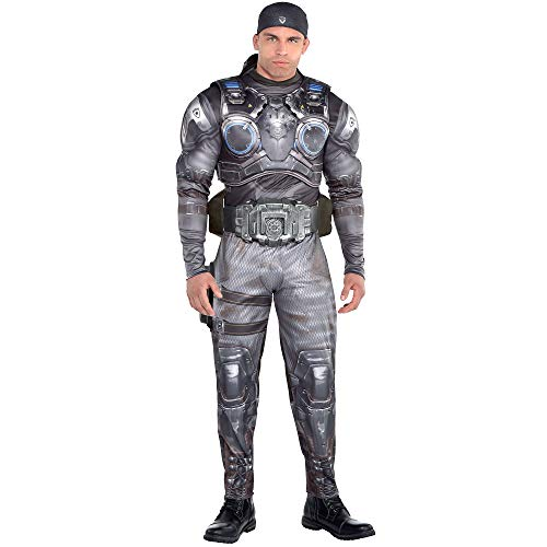 Party City Marcus Fenix Halloween Muscle Costume for Men, Gears of War, Standard, with Accessories