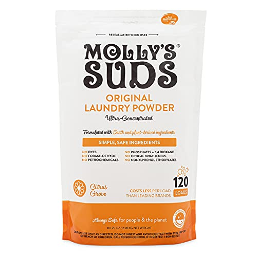 Molly's Suds Original Laundry Detergent Powder | Natural Laundry Detergent for Sensitive Skin | Earth-Derived Ingredients, Stain Fighting | Citrus Grove Scented, 120 Loads