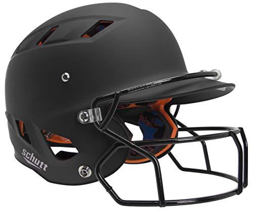 Schutt AiR 5.6 Softball Batting Helmet with Advanced D30 Padding, Matte Black with Face Mask, X-Small