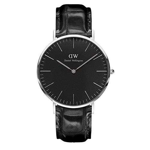 Daniel Wellington Classic Reading, Schwarz/Silber Uhr, 40mm, Leder, für Herren