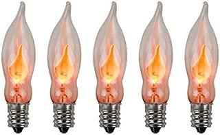 Creative Hobbies A101 Flicker Flame Light Bulb -3 Watt, 130 Volt, E12 Candelabra Base, Flame Shaped, Nickel Plated Base,- Dances with a Flickering Orange Glow - Box of 5 Bulbs