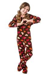 top 10 big feet pajamas Big Feet Pjs Kids Youth Chocolate Brown Pink Hearts Onesie Footie Pajamas(Medium)