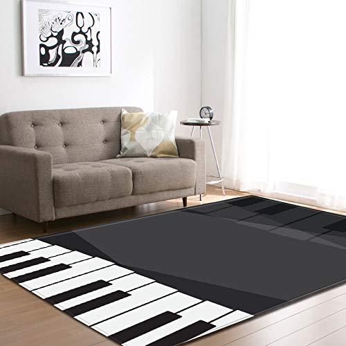 Gruesa alfombra de terciopelo suave manchada alfombra antideslizante inferior para la sala de estar dormitorio 3D negro blanco piano impreso piso pad guardería sala juego mat casa decor,120 * 180cm