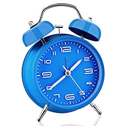 Analog Alarm Clock, Twin Bell Silent Non Ticking Clock with Night Light, Battery Operated, Super Loud Alarm Clock for Heavy Sleepers, Bedroom, Bedside, Desk (Blue)