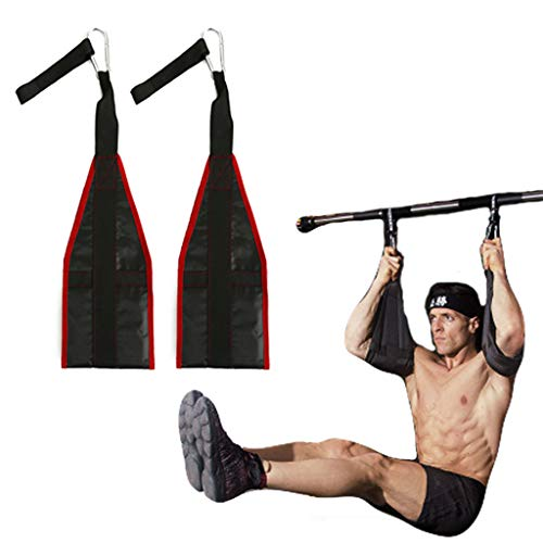 vocheer AB Straps Weight Lifting Abdominal Exercise Padded Slings, Hanging Sling Straps with Quick Locks Carabiner for Abs Crunch, Leg Raises, Pull Up, Home & Gym Fitness, Red