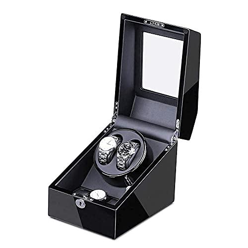 NuanXing Enrollador de Reloj enrollador de Reloj para 2 Relojes + 3 adaptadores de Motor de Almacenamiento y Carcasa de Madera con Pilas Pintura de Piano Exterior W (Caja de presentación de Reloj)
