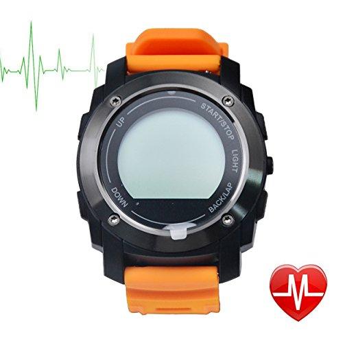 TechCommYang Reloj Deportivo GPS Running Para El Ciclismo GPS Ceramic Antenna Sensor Podómetro Monitor de Sueño IP66 Resistente al Agua Soporta IOS 8.0+ / Android 4.3+ ( Naranja )