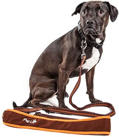Pet Life Free Fetcher Hands Free Over The Shoulder Shock Absorbent Dog Leash Small Brown LS20BRSM product image