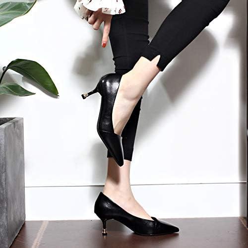Yukun Schuhe mit hohen Absätzen One-Button Schnalle Stiletto Stiletto Stiletto Heels Weißliche Herbst Wies Strass Mode Einzelne Schuhe Flacher Mund, 38, Schwarz  nicht zu vermissen!