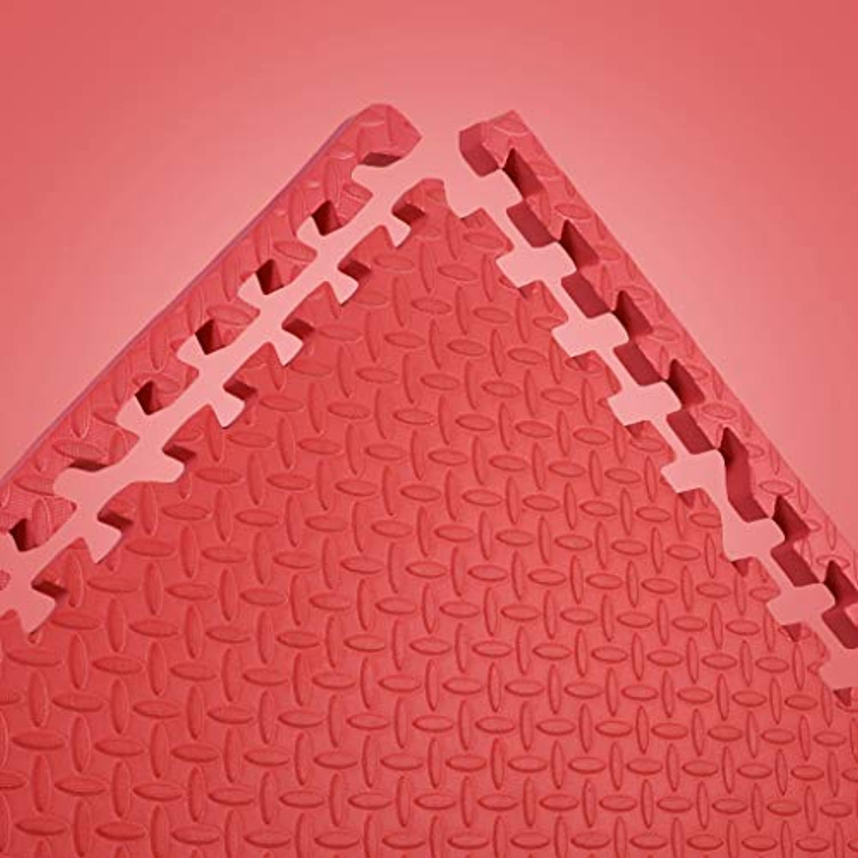 LFY Kinder Puzzle Spielmatte Volltonfarbe, Dicke Schaumkrabbelmatte (Farbe   Rot, gre   16 Piece)