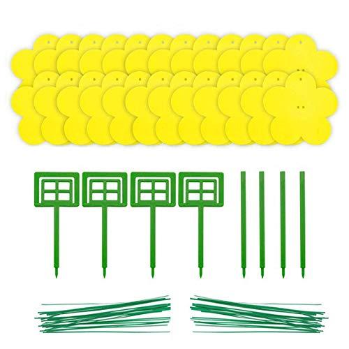 HELHUNLEE doppelseitiges Klebeband Gelbfalle – Blütenform Gelbtafeln – 24 Gelbsticker, große Klebefläche, Insektenfalle Leimfallen perfekt gegen Ungeziefer, Trauermücken, Blattläuse, Minierfliegen