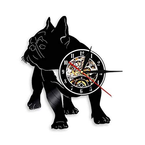 ZZLLL Bulldog francés Silueta Pared Arte Reloj de Pared Disco de Vinilo francés Reloj de Pared Raza de Perro Cachorro Mascota decoración del hogar Perro Pareja Regalo - Sin LED