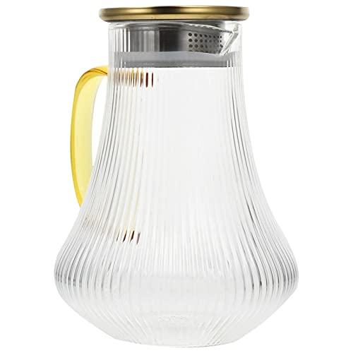 Vobajf Jarra de vidrio para café, zumo, botella de agua, diseño vertical, color dorado, tamaño: talla única