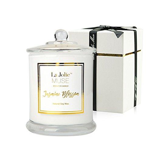 La Jolíe Muse Jasmin Duftkerze, Geschenk für Frauen, natürliches Sojawachs, 65 Stunden Brenndauer, feiner Wohlgeruch, Glaskerze