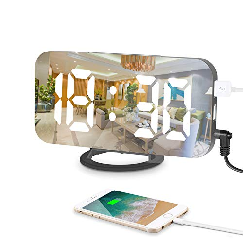Sveglia Digitale, LED Sveglia Elettronica Luminosità Regolabile e Superficie a specchio,con Doppia Ricarica Porta USB e Pulsante Grande Snooze per La Decorazione del Soggiorno Della Camera da Letto