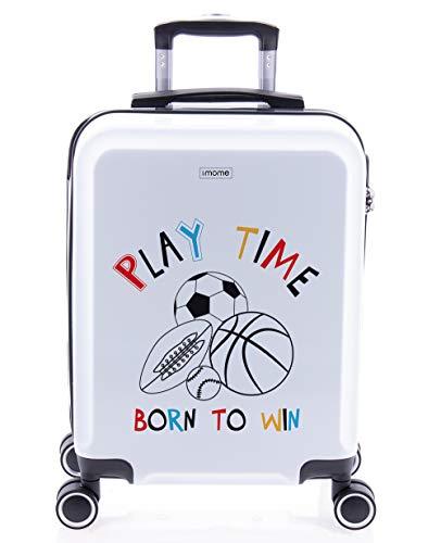 imome Cool Maleta de Cabina Infantil Play Time 55x40x20 cm | Equipaje de Mano, Trolley de Viaje Ryanair, Easyjet | Maleta de Viaje Rígida Divertida Deportes Fútbol Juvenil