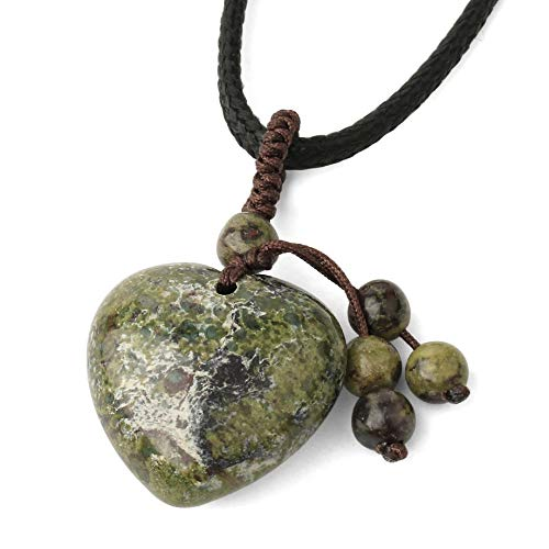 Stone Pendant Necklaces For Women,Vintage Hand-Woven Chain Heart-Shaped Natural Green Dragon Blood Stone Beads Punk Reiki Power Stone Pendant Christmas Jewelry Gifts Anniversary Birthday Gift For He